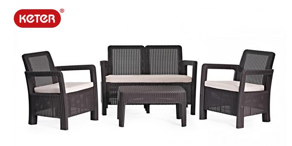 Chollo set de jardin de 4 plazas keter tarifa lounge con for Set de resina de jardin trenzado barato