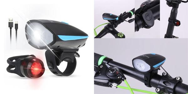Set de luces LED para bicicleta recargables con bocina barato en Amazon