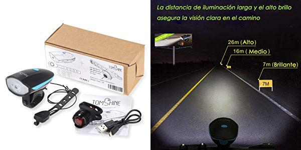 Set de luces LED para bicicleta recargables con bocina incluida barato en Amazon