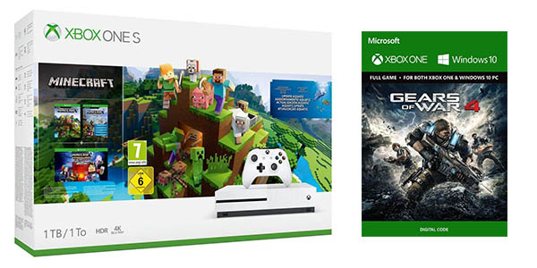 Pack Xbox One S de 1 TB + Minecraft Complete Collection + Gears of War 4