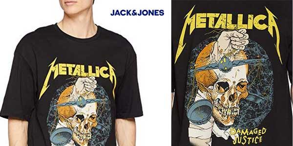 Camiseta de manga corta Jack & Jones Jormetallica para hombre chollazo en Amazon