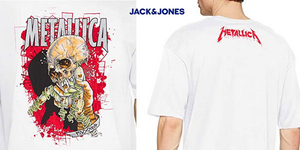 Camiseta de manga corta Jack & Jones Jormetallica para hombre chollo en Amazon