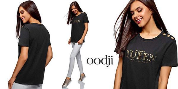 Camiseta recta Oodji Ultra con botones decorativos para mujer barata en Amazon