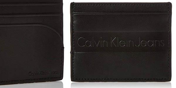cartera de cuero tarjetero Calvin Klein Logo Pop Cardholder chollo