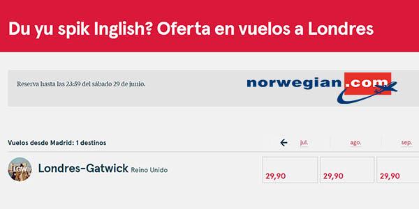 Norwegian ofertas en vuelos a Londres junio 2019