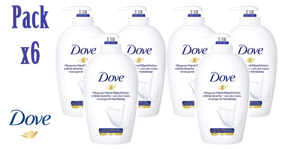 Pack x6 Jabón de manos Dove Cream Wash de 250 ml/ud barato en Amazon