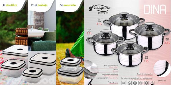 Batería de cocina San Ignacio Premium Dina de 8 piezas + fiambreras + utensilios en oferta en Amazon