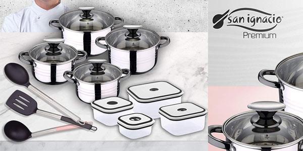 Batería de cocina San Ignacio Premium Dina de 8 piezas + fiambreras + utensilios barata en Amazon