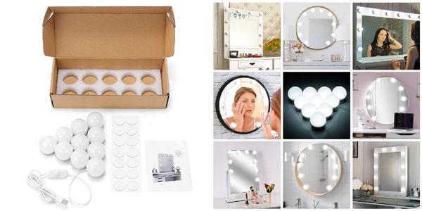 Set de 10 bombillas LED de brillo ajustable EleLight para espejo de tocador chollazo en Amazon