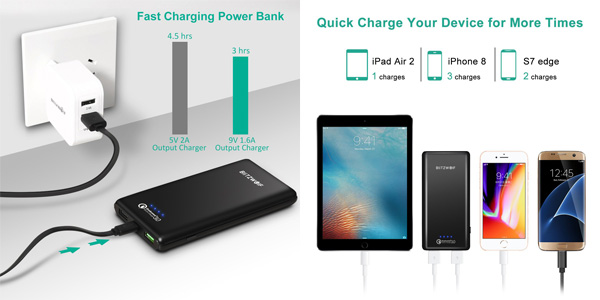 Batería externa BlitzWolf de 10.000 mAh Quick Charge 3.0 chollo en Amazon