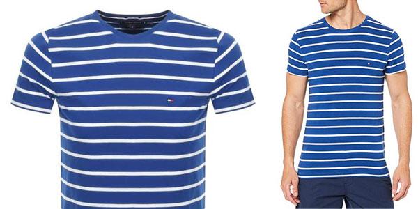 Camiseta manga corta Tommy Hilfiger Stretch Slim Fit tee estampada a rayas para hombre chollazo en Amazon