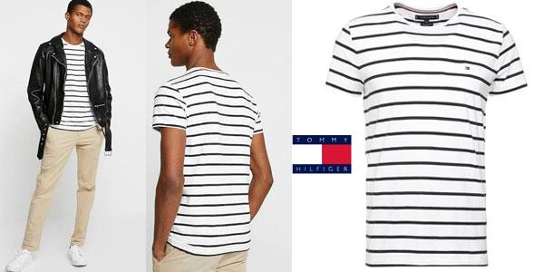 Camiseta manga corta Tommy Hilfiger Stretch Slim Fit tee estampada a rayas para hombre chollo en Amazon