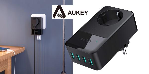 Cargador de pared Aukey con 4 puertos USB barato en Amazon