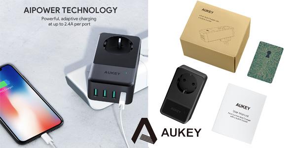 Cargador de pared Aukey con 4 puertos USB chollazo en Amazon
