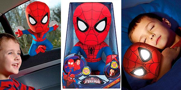 Chollo Peluche de Spiderman con luz quitamiedos
