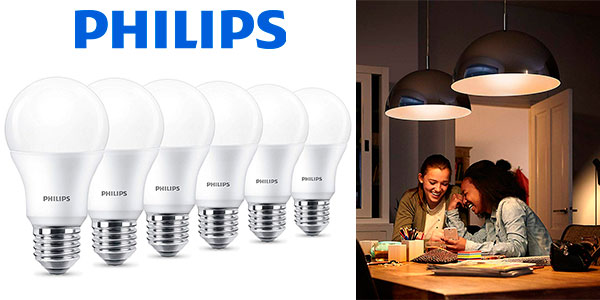 Chollo Pack de 6 bombillas LED Philips E27 de 9 W