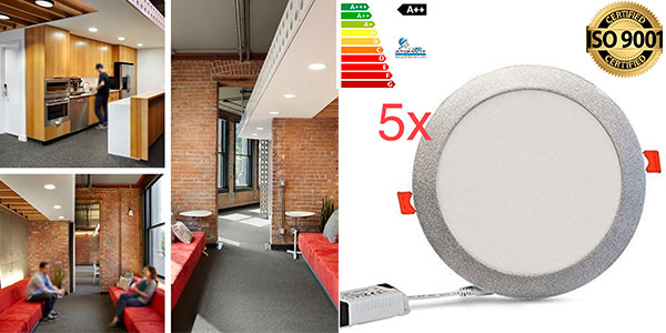 Chollo Pack de 5 paneles Led Atomant Downlight de 18 W