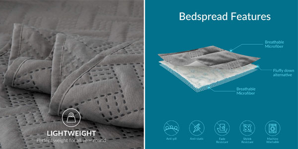 Colcha Acolchada Bedsure para cama doble chollo en Amazon
