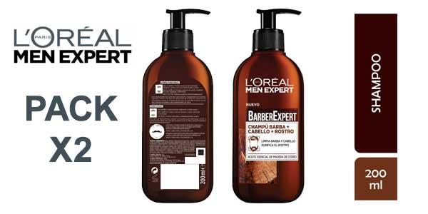 Set 2x L'Oréal Paris Men Expert Barber Club Champú 3 en 1 para barba, cabello y rostro barato en Amazon