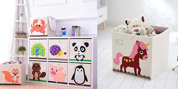 Caja plegable de lona para juguetes con decoración de divertidos animales barata en Amazon