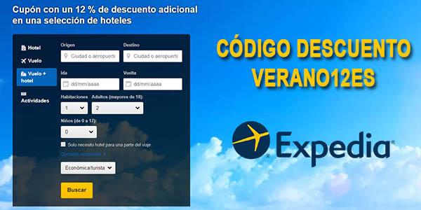 Expedia código descuento VERANO12Es reserva hoteles