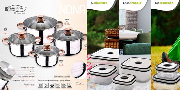 Batería de cocina 4 piezas San Ignacio Premium + 4 fiambreras + 3 utensilios barata en Amazon