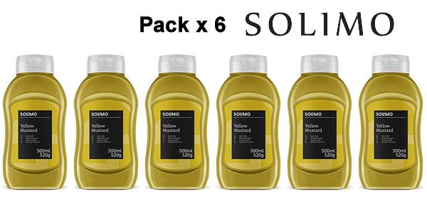 Pack x6 Mostaza Amarilla Solimo de 500 ml/ud barato en Amazon