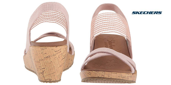 Sandalias de cuña Skechers Beverlee-High Tea rosa para mujer chollo en Amazon