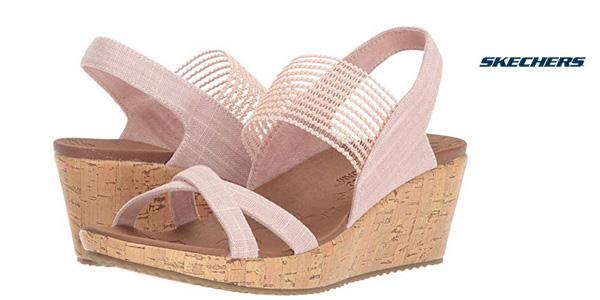Sandalias de cuña Skechers Beverlee-High Tea rosa para mujer baratas en Amazon