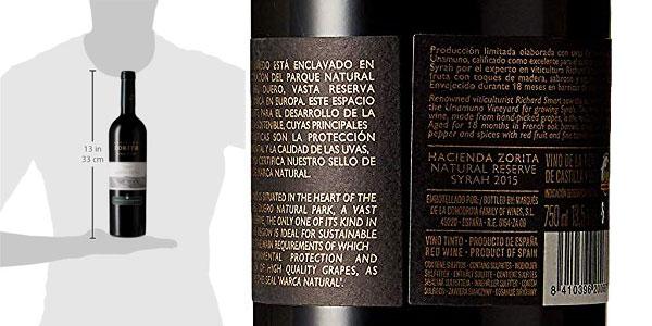 Botella Vino Tinto Hacienda Zorita Natural Reserve Syrah de 750 ml chollo en Amazon