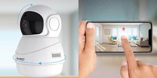 Cámara de seguridad AKASO WiFi 1080p 360° barata