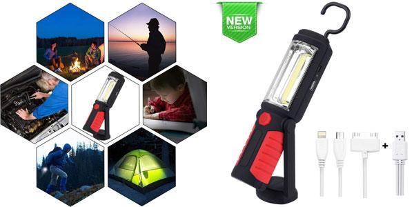 Linterna de trabajo COB LED portátil y recargable QEENLO ideal para coche barata en Amazon