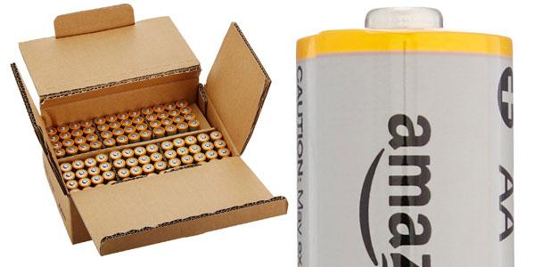 Paquete de 100 pilas alcalinas AA AmazonBasics de 1,5 V chollo en Amazon