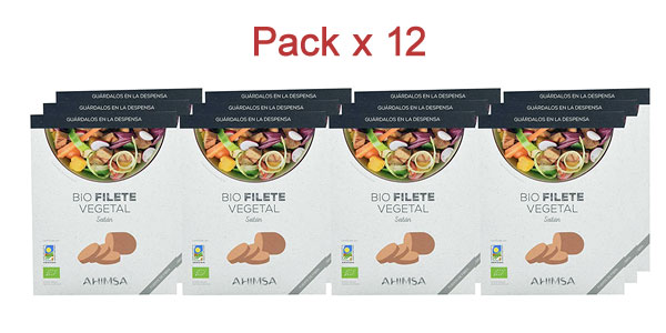 Pack x12 Bio Filete Vegetal de Seitán Ahimsa de 230 gr/ud barato en Amazon