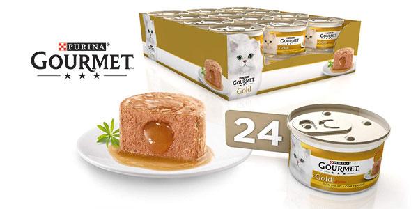 Pack x24 Purina Gourmet Gold Fondant comida para gatos con Pollo de 85 gr/ud barato en Amazon