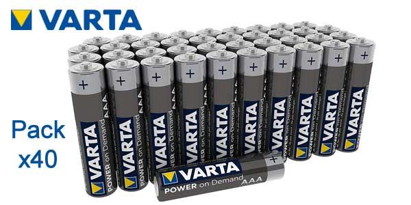 Pack x40 Pilas alcalinas VARTA Power On Demand barato en Amazon