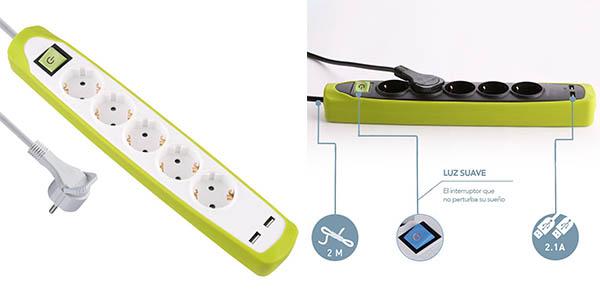regleta con 5 enchufes y USB Electraline Gummy 62161 oferta