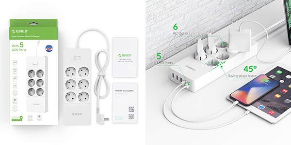 Regleta ORICO 6 tomas de corriente+ 5 USB en Amazon