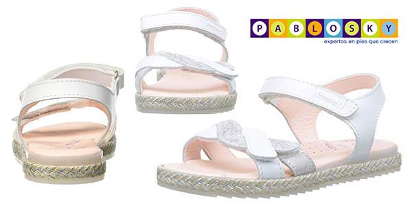 sandalias infantiles de tiras de cuero Pablosky oferta