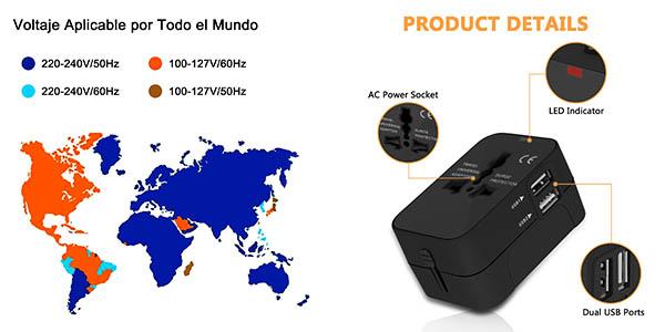 cargador universal para enchufes de todos los países con USB oferta