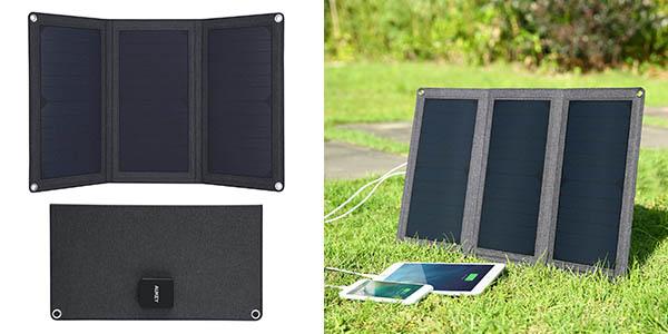 Aukey cargador solar para dispositivos móviles barato