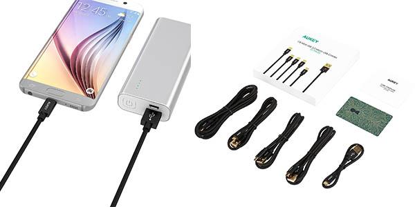 cables micro USB Aukey relación calidad-precio estupenda