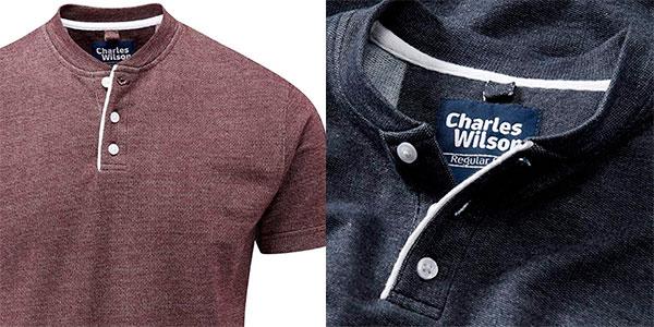 Camiseta Charles Wilson de cuello Henley para hombre barata