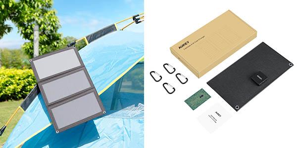 cargador solar panel Aukey cupón descuento Amazon