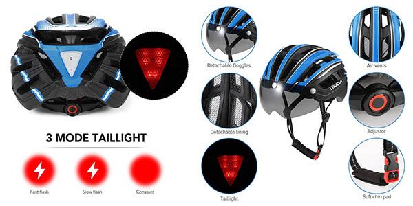 casco de ciclismo de seguridad con lux Lixada relación calidad-precio estupenda