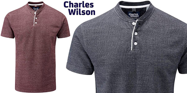 Chollo Camiseta Charles Wilson de cuello Henley para hombre