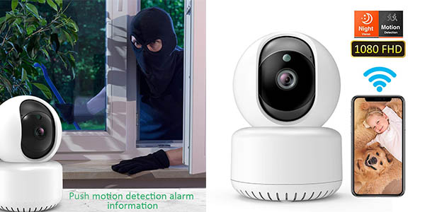 Dadypet cámara de seguridad doméstica con cupón descuento en Amazon