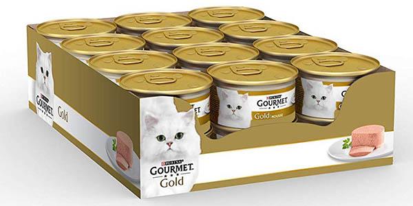 latas de comida para gatos Purina Gourmet Gold Buey mousse oferta
