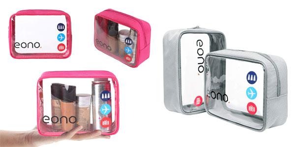 Pack de 2 neceseres transparentes Eono Essentials para cabina de avión baratos en Amazon