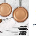 Set de 3 sartenes + 4 cuchillos + 3 utensilios San Ignacio Copper Plus al mejor precio en amazon